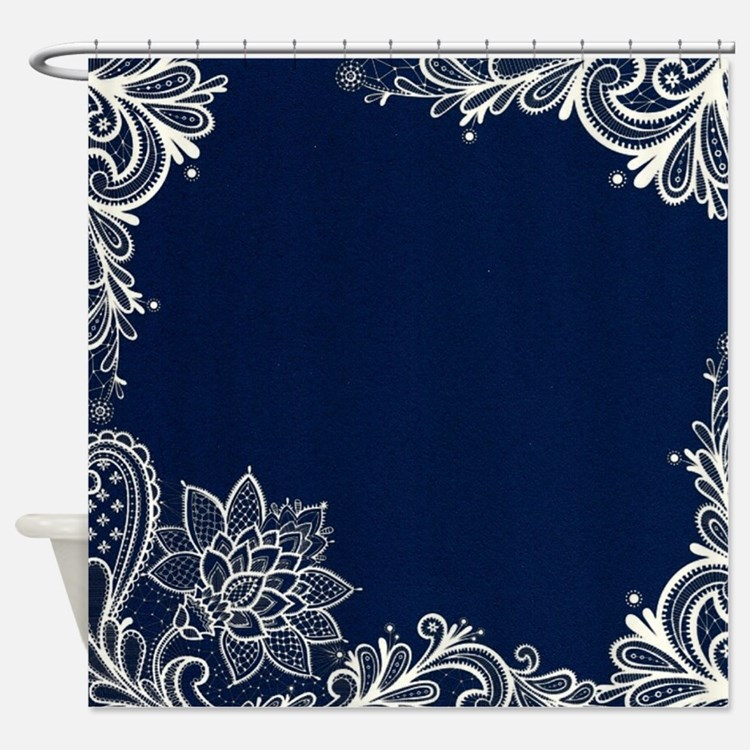 Navy Blue Floral Shower Curtains