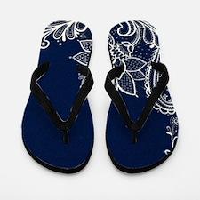 navy blue white lace Flip Flops