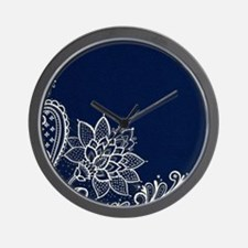 navy blue white lace Wall Clock