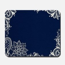 navy blue white lace Mousepad