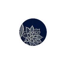 navy blue white lace Mini Button