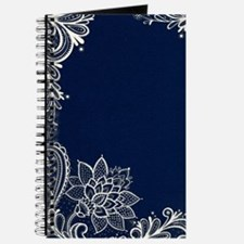 navy blue white lace Journal