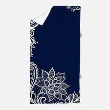 navy blue white lace Beach Towel