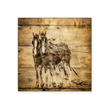 "western country farm horse Square Sticker 3"" x 3"""
