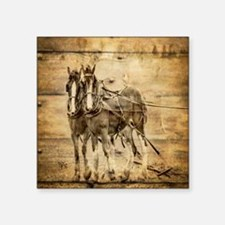 "western country farm horse Square Sticker 3"" x 3"""