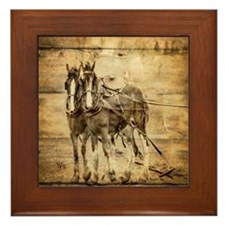 western country farm horse Framed Tile