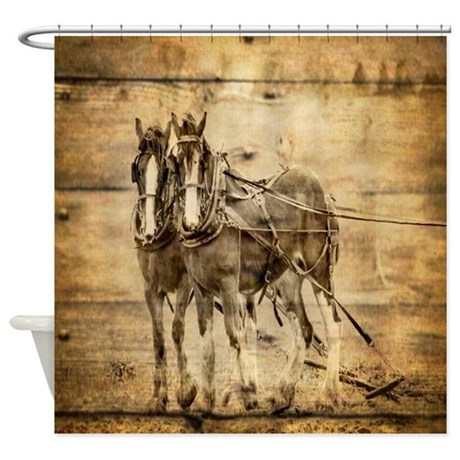 Western Country Farm Horse Shower Curtain By Listing Store