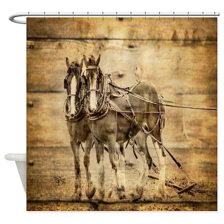 Western Country Farm Horse Shower Curtain