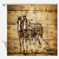 western country farm horse Shower Curtain