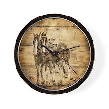 western country farm horse Wall Clock