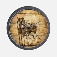 western country farm horse Wall Clock