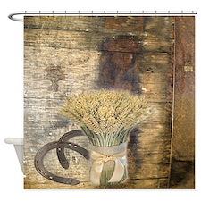 barn wood wheat horseshoe  Shower Curtain
