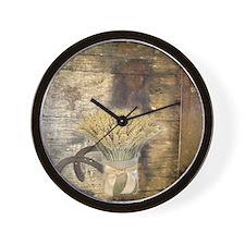 barn wood wheat horseshoe  Wall Clock