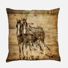 western country farm horse Everyday Pillow