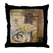 barn wood wheat horseshoe  Throw Pillow
