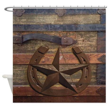 Western Horseshoe Texas Star Shower Curtain