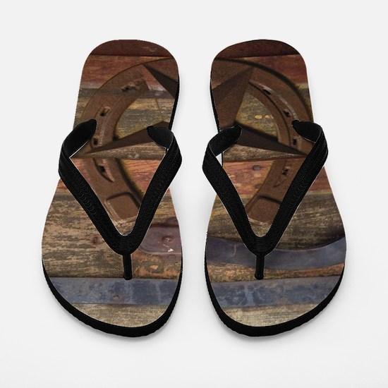western horseshoe texas star Flip Flops