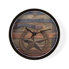 western horseshoe texas star Wall Clock