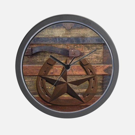 western horseshoe texas star Wall Clock