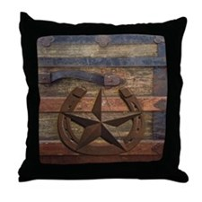 western horseshoe texas star Throw Pillow