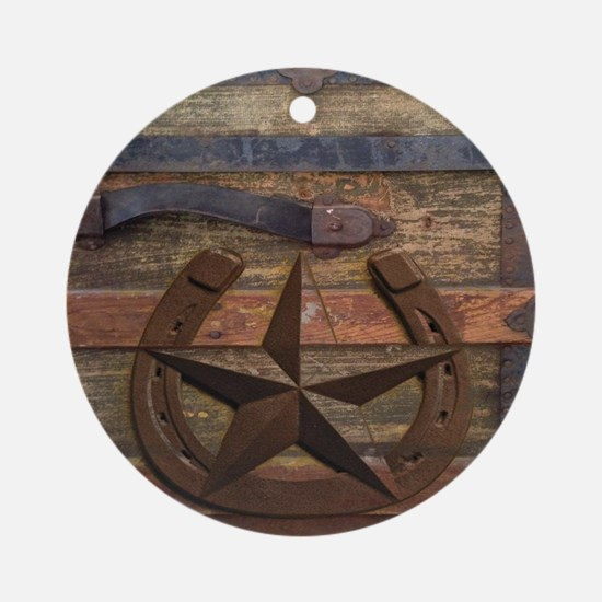 western horseshoe texas star Round Ornament