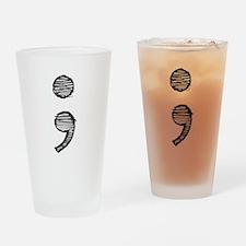 Semi Colon (Handdrawn) Drinking Glass