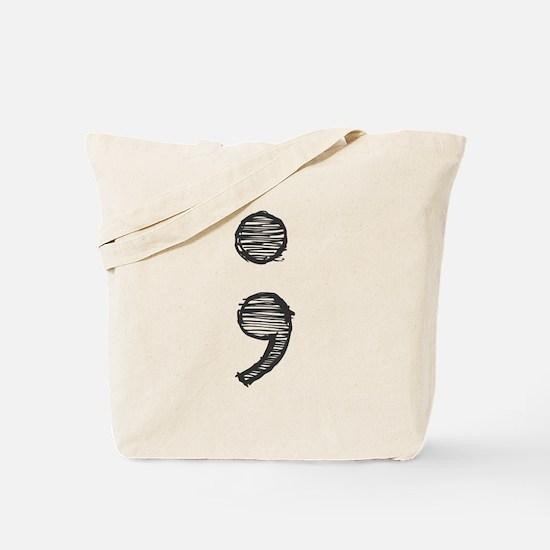 Semi Colon (Handdrawn) Tote Bag