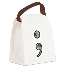 Semi Colon (Handdrawn) Canvas Lunch Bag