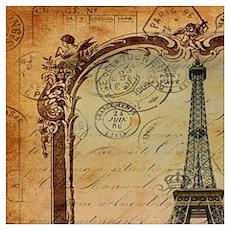 vintage paris eiffel tower Poster