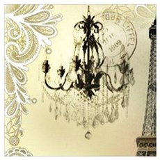 girly lace paris eiffel tower Poster