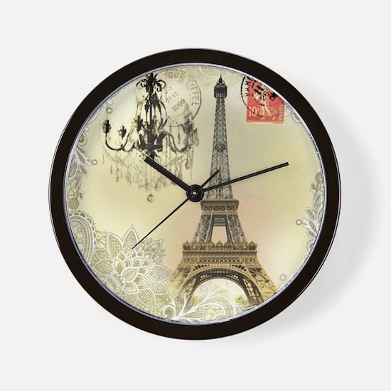 girly lace paris eiffel tower Wall Clock