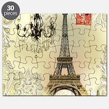 girly lace paris eiffel tower Puzzle