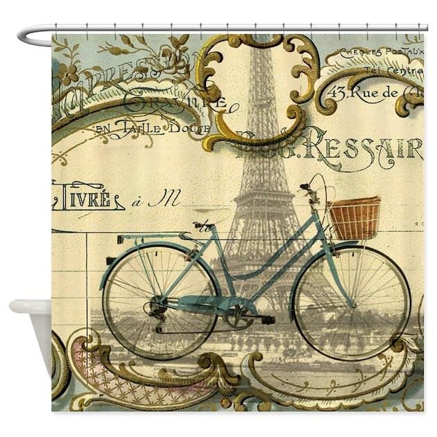 Eiffel Tower Paris Bike Shower Curtain By Listing Store