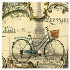 eiffel tower paris bike Poster