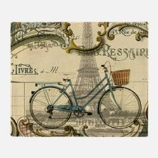 eiffel tower paris bike Throw Blanket