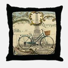 eiffel tower paris bike Throw Pillow
