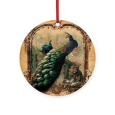 romantic paris vintage peacock Round Ornament