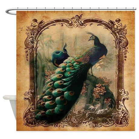 romantic paris vintage peacock shower curtain by