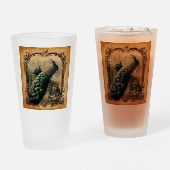 romantic paris vintage peacock Drinking Glass