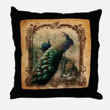 romantic paris vintage peacock Throw Pillow