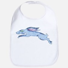 Leaping blue hare Bib