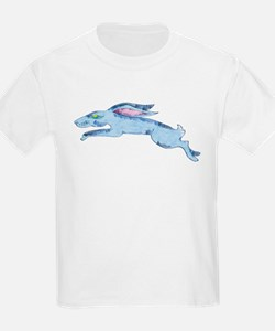 Leaping blue hare T-Shirt
