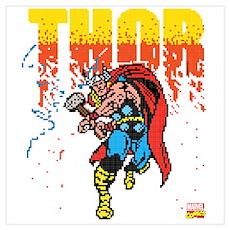 Thor Pixel Dark Wall Art Poster