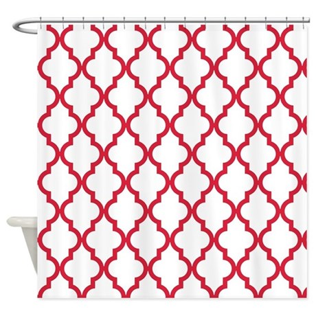 Red Moroccan Pattern Inverted Shower Curtain By Colors And Patterns