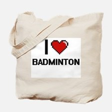 I Love Badminton Digitial Design Tote Bag