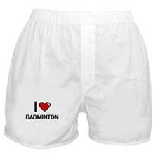 I Love Badminton Digitial Design Boxer Shorts