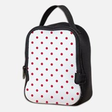 Red, Cherry: Polka Dots Pattern Neoprene Lunch Bag