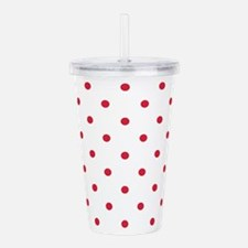 Red, Cherry: Polka Dot Acrylic Double-wall Tumbler