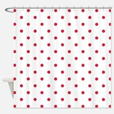 Red, Cherry: Polka Dots Pattern (Sm Shower Curtain