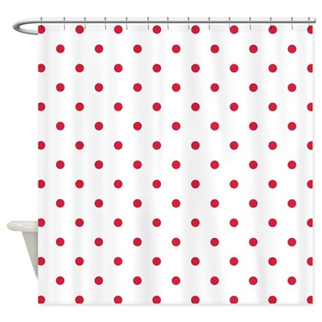 White Red Polka Dots Shower Curtain By Colors And Patterns